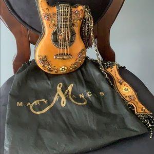Mary Frances Brown Guitar Beaded Purse